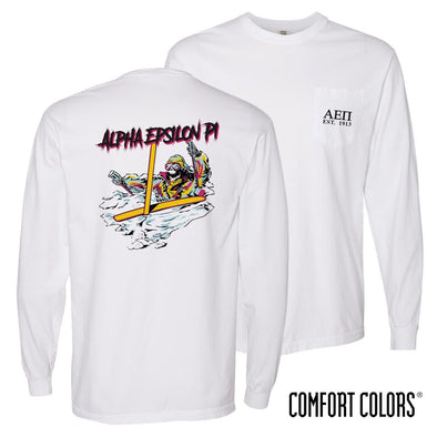 New! AEPi Comfort Colors White Long Sleeve Ski-leton Tee