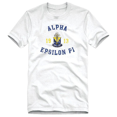 AEPi White Distressed Crest Tee