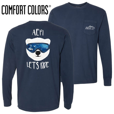New! AEPi Comfort Colors Navy Let's Ride Long Sleeve Pocket Tee