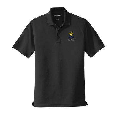 New! Personalized AEPi Crest Black Performance Polo