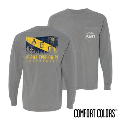 AEPi Gray Comfort Colors Flag Long Sleeve Pocket Tee