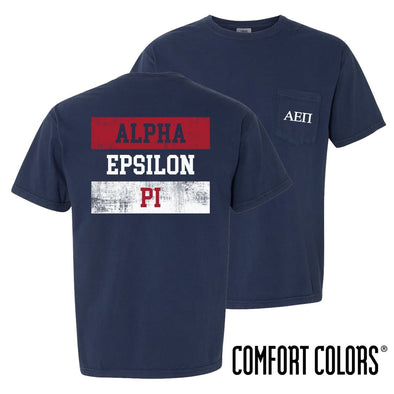 New! AEPi Comfort Colors Red White and Navy Short Sleeve Tee