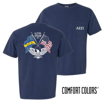 New! AEPi Comfort Colors Short Sleeve Navy Patriot tee