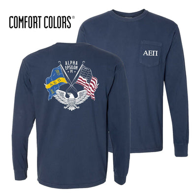AEPi Comfort Colors Long Sleeve Navy Patriot tee