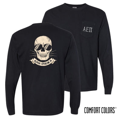New! AEPi Comfort Colors Black Skull Long Sleeve Pocket Tee