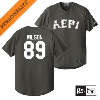 New! AEPi Personalized New Era Graphite Baseball Jersey