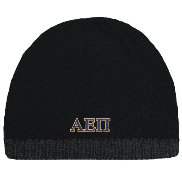 Sale! AEPi Black Knit Beanie with Fleece Lining
