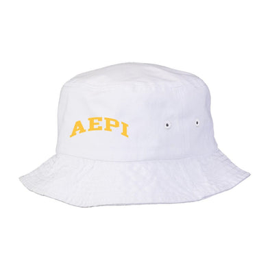 New! AEPi Title White Bucket Hat