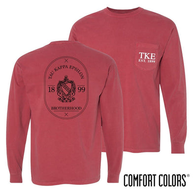 TKE Comfort Colors Crimson Badge Long Sleeve Pocket Tee