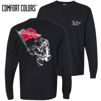 TKE Comfort Colors Black Astronaut Long Sleeve Pocket Tee