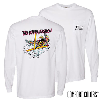 New! TKE Comfort Colors White Long Sleeve Ski-leton Tee