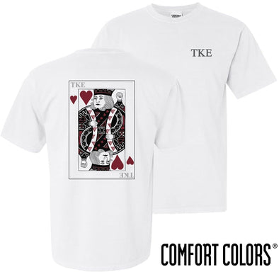 New! TKE Comfort Colors White King of Hearts Short Sleeve Tee