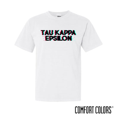 New! TKE Comfort Colors White Glitch Short Sleeve Tee