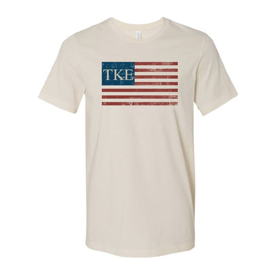 New! TKE Natural Retro Flag Tee