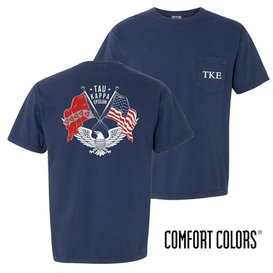 New! TKE Comfort Colors Short Sleeve Navy Patriot tee