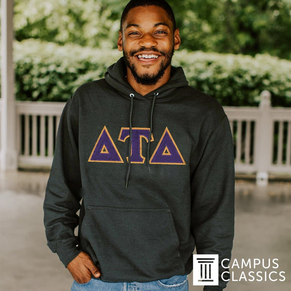 Delt Dark Heather Hoodie with Sewn On Letters