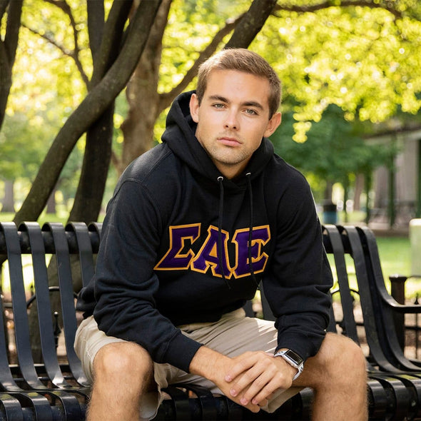 Phi Psi Black Hoodie with Sewn On Greek Letters