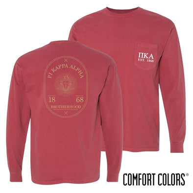Pike Comfort Colors Crimson Badge Long Sleeve Pocket Tee