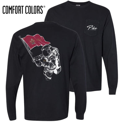 New! Pike Comfort Colors Black Astronaut Long Sleeve Pocket Tee