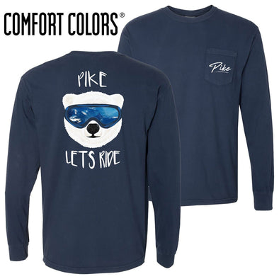 Pike Comfort Colors Navy Let's Ride Long Sleeve Pocket Tee