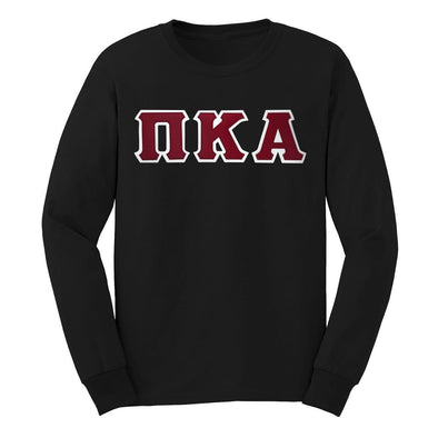 Pike Black Sim Stitch Letter Long Sleeve Tee