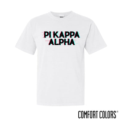 New! Pike Comfort Colors White Glitch Short Sleeve Tee