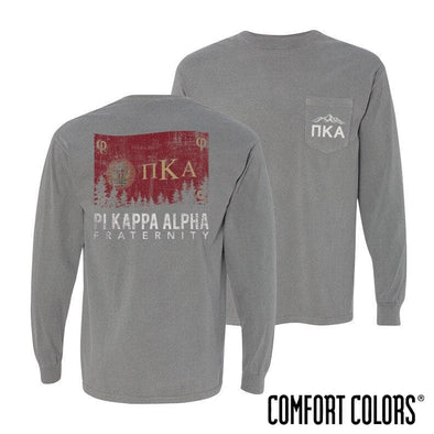 Pike Gray Comfort Colors Flag Long Sleeve Pocket Tee