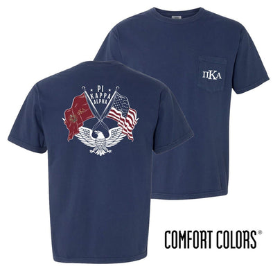 New! Pike Comfort Colors Short Sleeve Navy Patriot tee