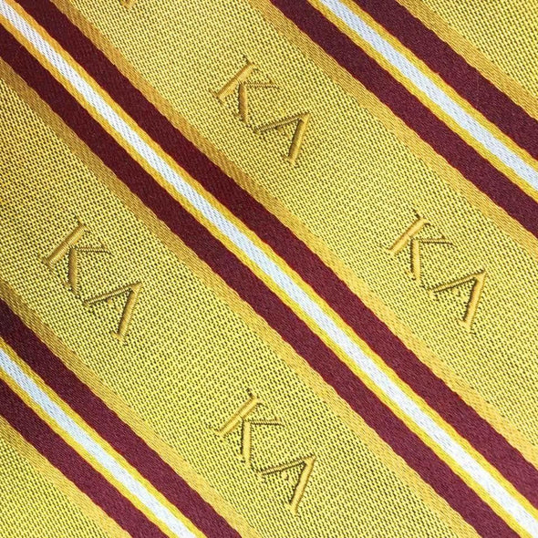 Sale! Kappa Alpha Gold and Maroon Striped Silk Tie