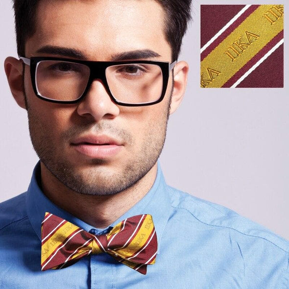 Sale! Pike Garnet and Gold Striped Silk Bow Tie