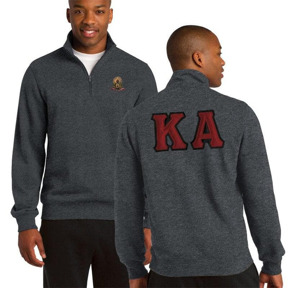 Clearance! Kappa Alpha Heather Charcoal 1/4 Zip Sweatshirt with Sewn On Letters