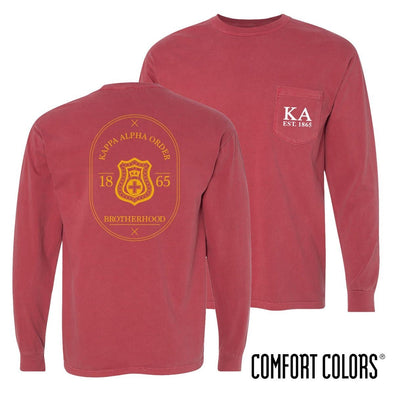 Kappa Alpha Comfort Colors Crimson Badge Long Sleeve Pocket Tee