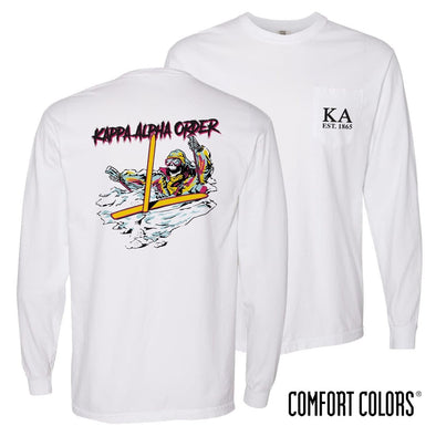 New! Kappa Alpha Comfort Colors White Long Sleeve Ski-leton Tee