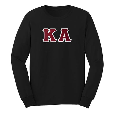 Kappa Alpha Black Sim Stitch Letter Long Sleeve Tee