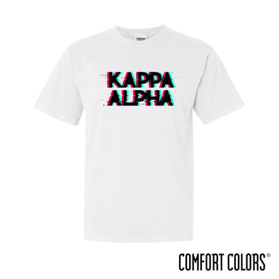 New! Kappa Alpha Comfort Colors White Glitch Short Sleeve Tee