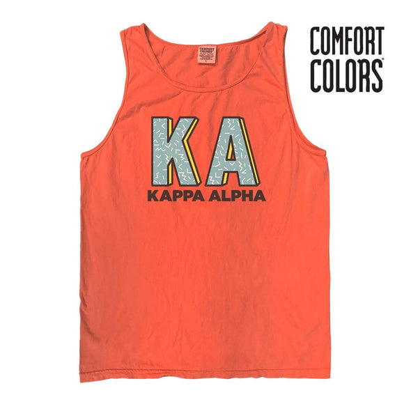 Kappa Alpha Bright Salmon Retro Comfort Colors Tank