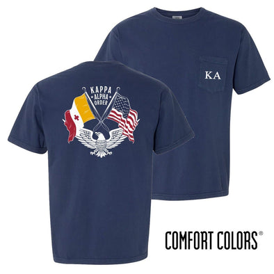 New! Kappa Alpha Comfort Colors Short Sleeve Navy Patriot tee