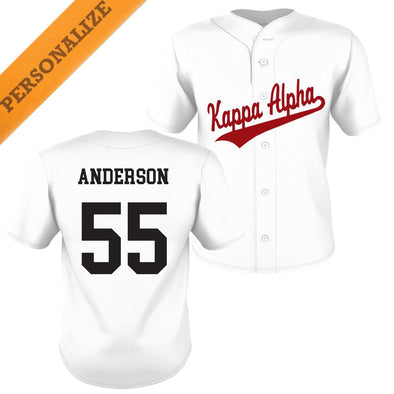 New! Kappa Alpha Personalized White Mesh Baseball Jersey
