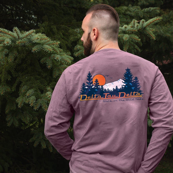 AEPi Comfort Colors Berry Retro Wilderness Long Sleeve Pocket Tee