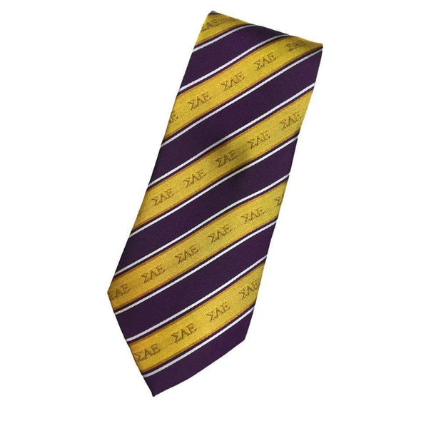 Sale! SAE Gold and Purple Striped Silk Tie