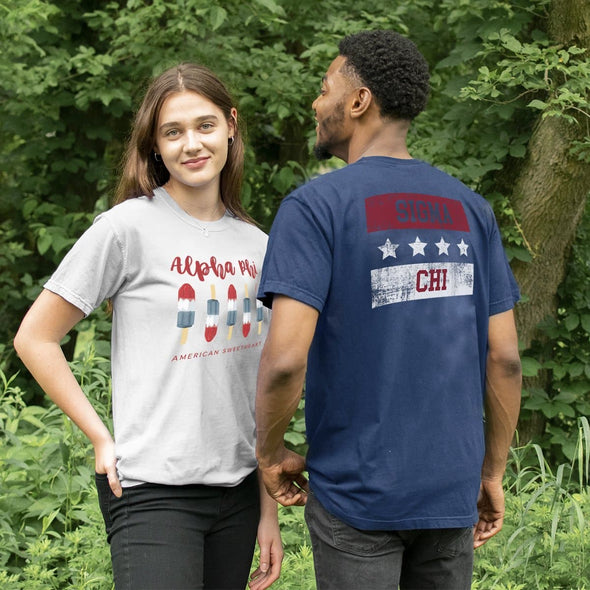 Delta Sig Comfort Colors Red White and Navy Short Sleeve Tee