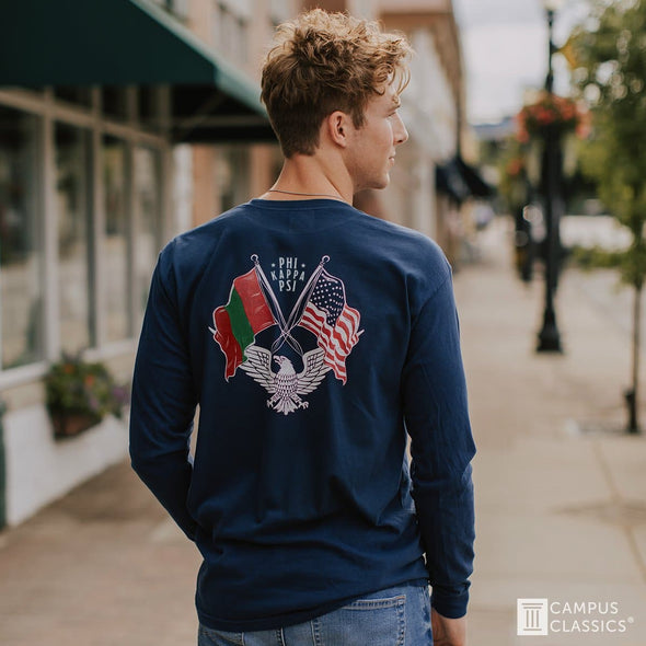 Alpha Sig Comfort Colors Long Sleeve Navy Patriot tee