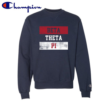 New! Beta Red White and Navy Champion Crewneck
