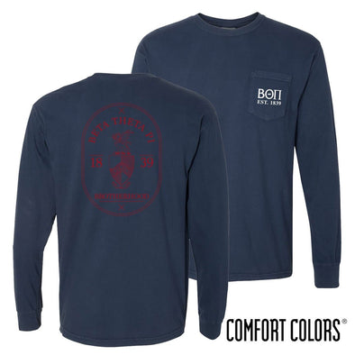 Beta Comfort Colors Navy Badge Long Sleeve Pocket Tee