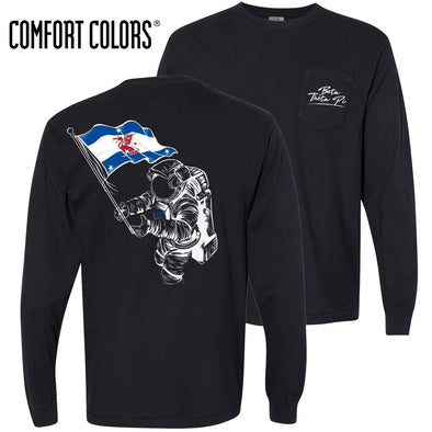 Beta Comfort Colors Black Astronaut Long Sleeve Pocket Tee