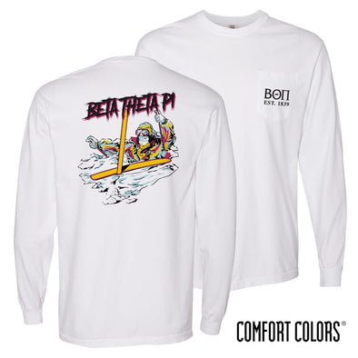 New! Beta Comfort Colors White Long Sleeve Ski-leton Tee