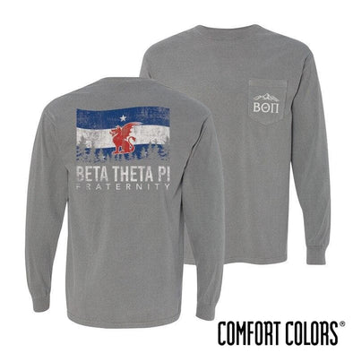 Beta Gray Comfort Colors Flag Long Sleeve Pocket Tee