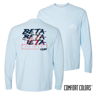 New! Beta Comfort Colors Chambray Long Sleeve Urban Tee