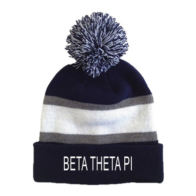Beta Striped Pom Beanie