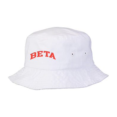 New! Beta Title White Bucket Hat